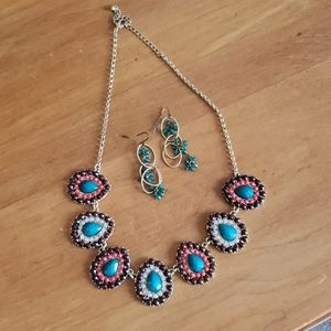 Jeweled Necklace and Earrings